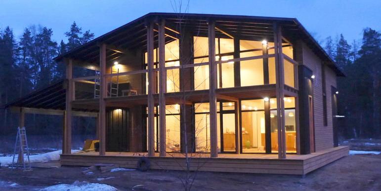 Шведский каркасный фахверковый дом шале панорамное остекление. строительство с отделкой под заселение